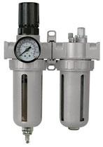GLUSF010 Pneumatischer Druckregler mit Wasserabscheider und, Ölvernebler,  1 bis 10 bar regelbar
