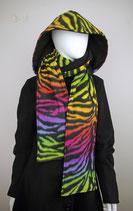 Kapuzenschal groß, Regenbogen-Zebramuster