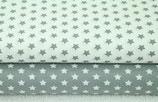 Baumwolldruck Sterne grau weiß Farbwahl