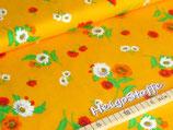 Jersey Druck Blumen auf Gelb
