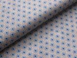 Baumwolldruck Blümchen hellblau/grau