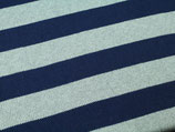 Strick Baumwolle Blockstreifen blau grau