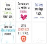 5er-Set Feinsinn Postkarten – stachlig, liebevoll und träumerisch