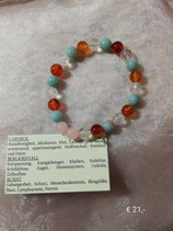 Kraftarmband (Carneol, Bergkristall, Achat)