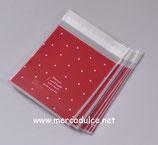 20 Bolsas de Celofán 10 X 10 cm roja lunares blancos
