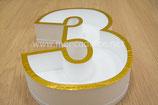 Letra o Número en corcho hueco borde dorado