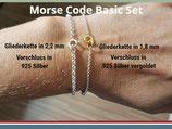 Basic Set Morse Code Armband (inkl. Zubehör/ 925 Silber Kugeln)
