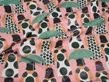 Regenjackenstoff Muster Frau mit Regenschirm