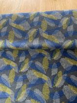 Jacquard Jersey grau mit Muster in senf, blau, ecru