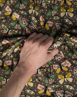 Jerseystoff braun Schmetterlingmuster
