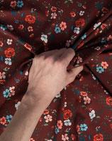 Jerseystoff dunkelrot Blumenmuster