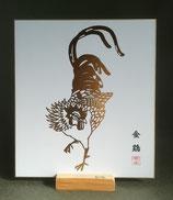 箔押し画 「金鶏」色紙