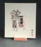 箔押し画 「闘犬」色紙