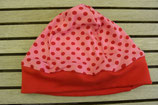 WENDE-BEANIE-Mütze rosa mit roten Punkten ca. GRÖSSE 62