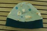 WENDE-BEANIE-Mütze türkis mit Schöfli GRÖSSE ca. 68