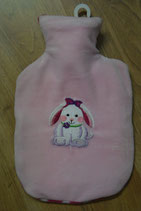 Wärmeflasche mit Überzug rosa mit Häsli