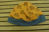 WENDE-BEANIE-Mütze gelb mit Traktor  GRÖSSE: ca. 74