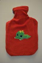 Wärmeflasche mit Überzug Rot mit Baby-Krokodil