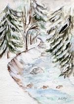 verschneites Flussbett