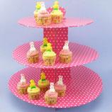 Pink getupfter Cupcake Ständer