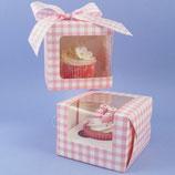 1er Cupcake Box rosa/weiss