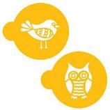 Retro Eule und Vogel Stencil Set