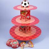 Fussball Cupcake Ständer Set rot