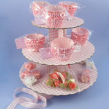 Rosa karierter Cupcake Ständer