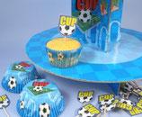 Fussball Cupcake Ständer Set blau