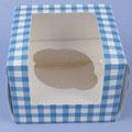 1er Cupcake Box blau/weiss
