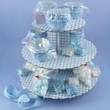 Hellblau karierter Cupcake Ständer