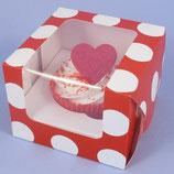1er Cupcake Box rot/weiss