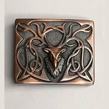 Kilt belt buckle Highland stag chocolate bronze