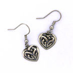 Oorhangers pewter celtic heart