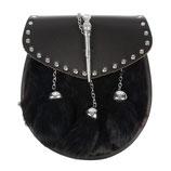 Half Dress sporran pin & chain black rabbit, studs