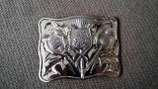 Kilt belt buckle thistle chrome