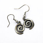Oorhangers pewter single spiral