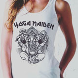 """yoga maiden"" - ladies tunic jersey vest with print"