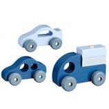 Kidsconcept: Holzautos 3-Set blau