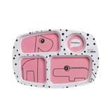 Done by Deer - Happy Dots Compartment Plate raspberry