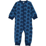 Maxomorra Rompersuit Button LS Cars Blue