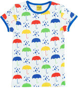 DUNS Damenshirt Kurzarm Umbrellas white