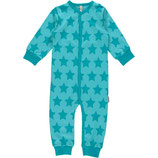 Maxomorra Rompersuit Button LS Star Turquoise