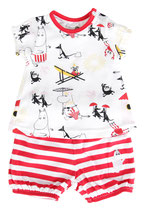 Martinex Beach Shorts + T-shirt Set White/Red