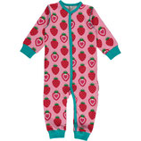 Maxomorra Rompersuit Button LS Strawberry