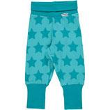 Maxomorra Ribpants Stars Turquoise