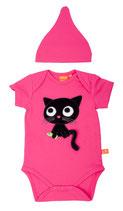 Lipfish Geschenk-Set kurzarm-Body mit Mütze Katze Pink