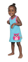 Lipfish Dress no sleeve aqua striped Owl