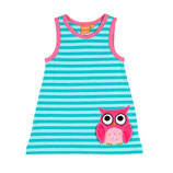 Lipfish aqua striped Dress no sleeve Owl