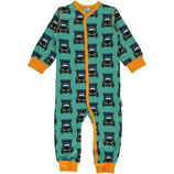 Maxomorra Rompersuit Button LS Tractor blue
